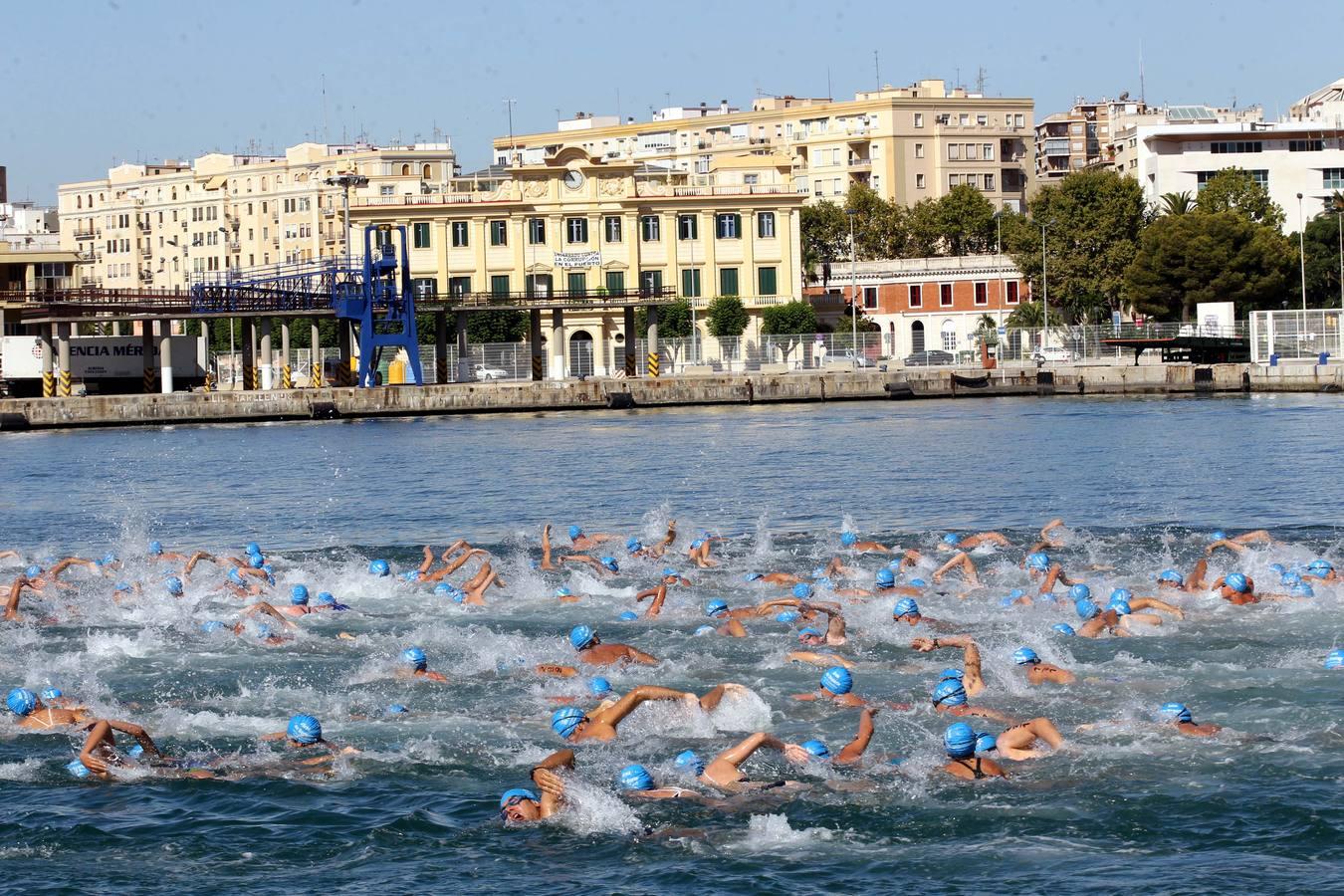 La Travesía a Nado del Puerto de Málaga, en imágenes